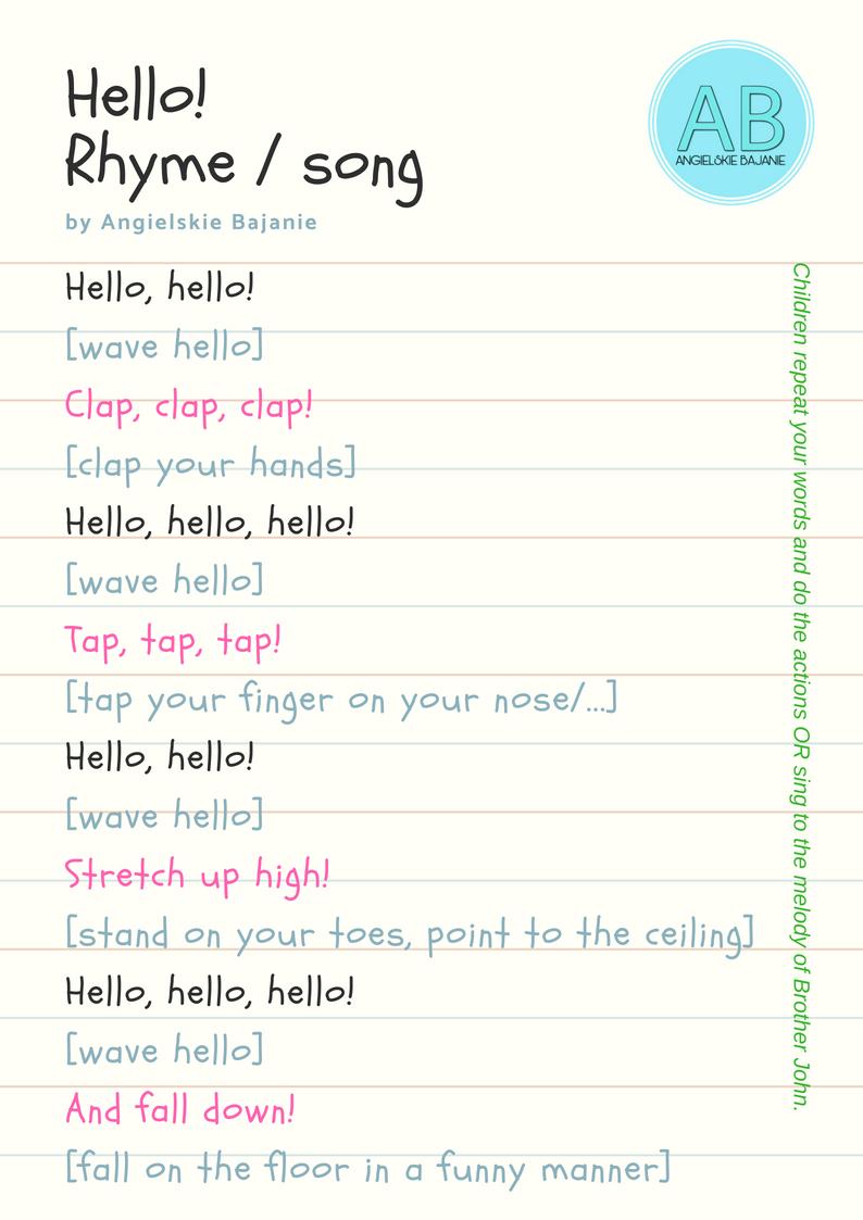 Wierszyk hello - rhyme
