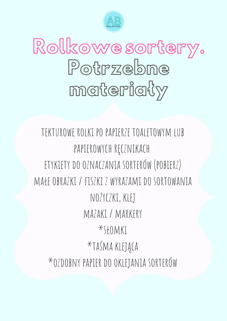 sortery - lista materiałów