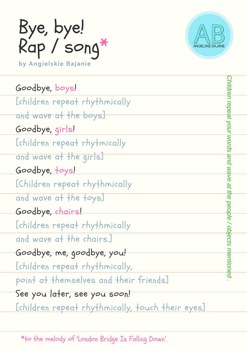 Bye, bye - wierszyk po angielsku