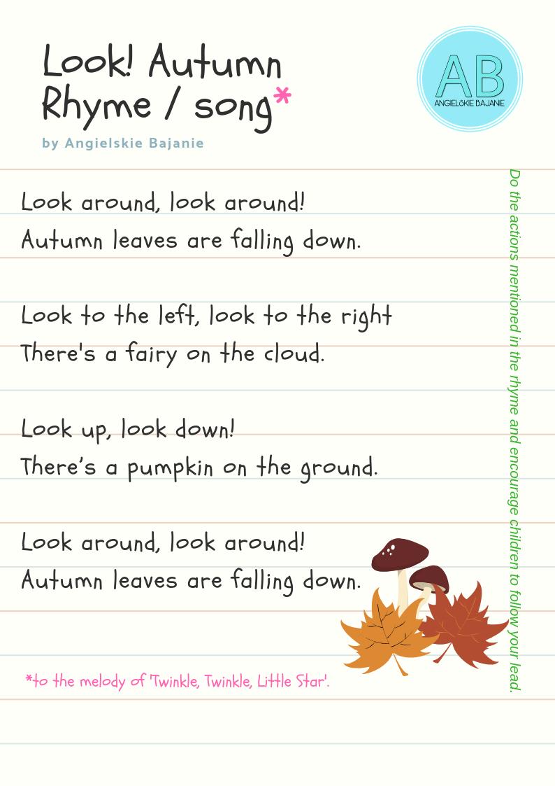 Autumn rhyme. Jesienny wierszyk po angielsku