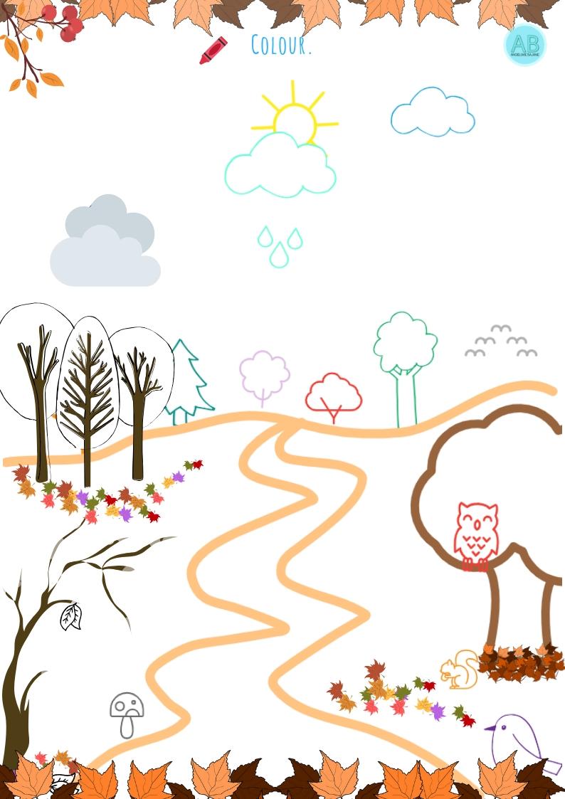 Autumn Coloring Page Kolorowanka